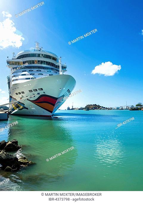 Cruise ship AIDA DIVA at the Port of Antigua, West Indies, Antigua, Antigua and Barbuda