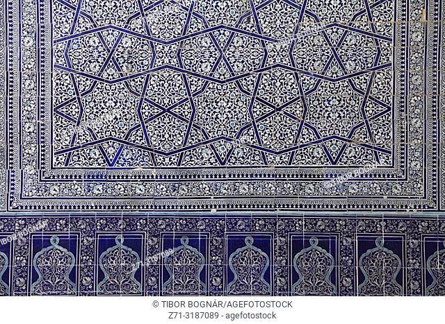 Uzbekistan, Khiva, Kunya Ark Palace, interior, ceramic tiles;