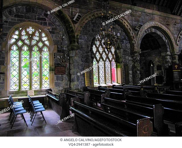 Inside view of St Conan's Kirk - memorial to Caroline Agnes Campbell of Blythswood, Scotland, UK