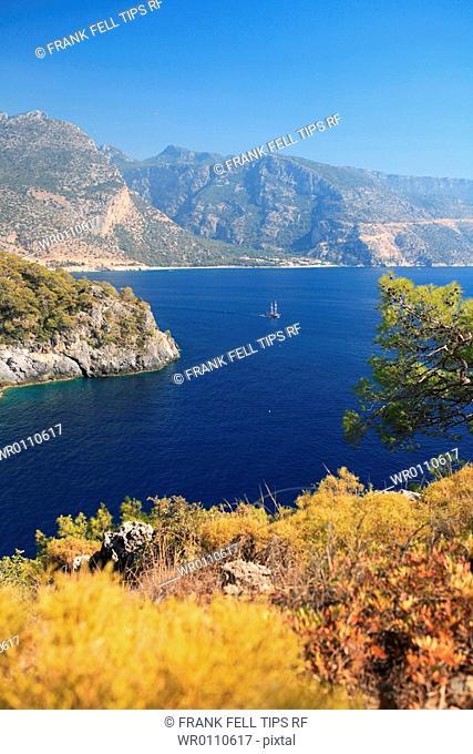 Turkey, Oludeniz, Coastline near Blue Lagoon