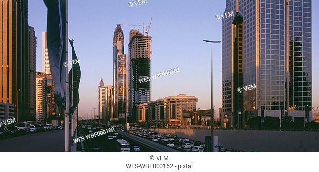 Dubai, United Arab Emirates, View of business district and sheikh zaid road