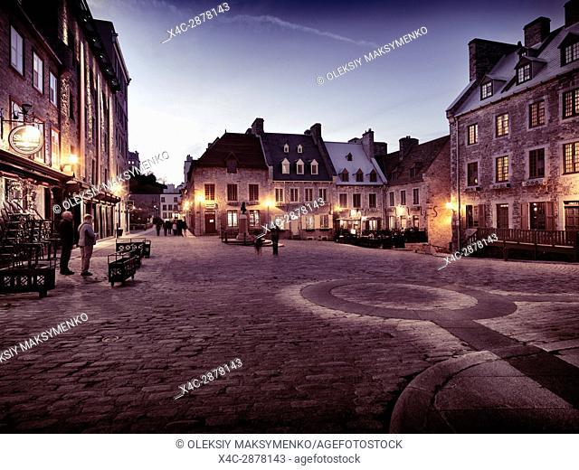 Nighttime view of Place Royale, Royal Square with boutiques and restaurants. Old Quebec City. Quebec, Canada. Ville de Québec