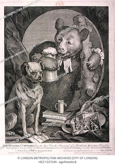 'The Bruiser, C. Churchill .. in the character of a Russian Hercules ..', 1763. The poet Charles Churchill is depicted as a bear in a clerical collar