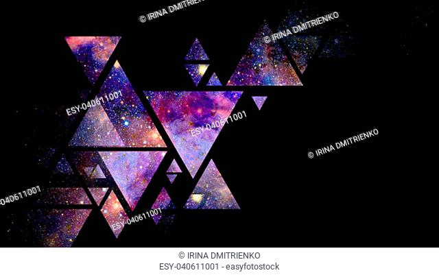 Abstract galaxy geometric background with triangles on black background. Elements of this image furnished by NASA