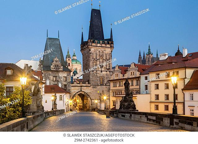 Lesser Town (Mala Strana) towers and gate in Prague, Czech Republic