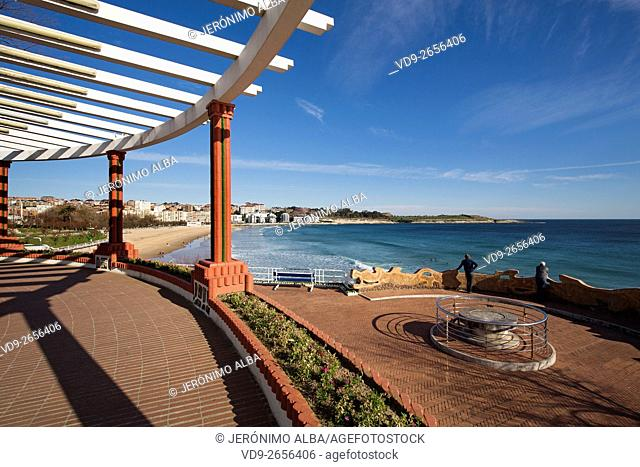 Piquio garden and Sardinero beach, Santander, Cantabrian Sea. Cantabria, Spain Europe