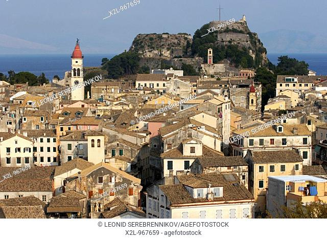 Kerkyra old town with the Old Fortress at the background  Corfu island, Greece