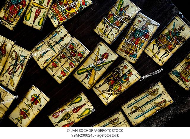 Playing cards, designed for predicting the future, are seen on the table in a shaman's house in Cali, Colombia, 17 April 2013
