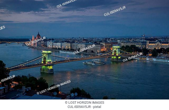 The Parliament and Chain Bridge on the Danube at dusk, Hungary, Budapest
