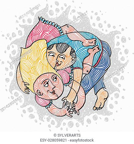 Love and sex conceptual illustration. Happy couple makes love, human relationships idea. Hand-drawn man and woman embracing, idyllic