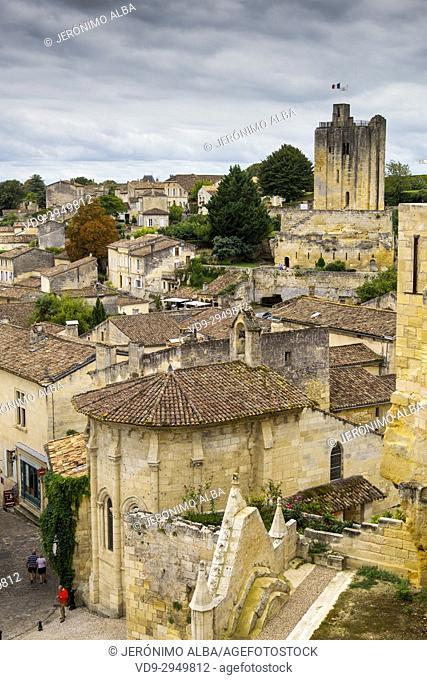 Panoramic view, Saint-Emilion Bordeaux wine region. Aquitaine Region, Gironde Department. France Europe