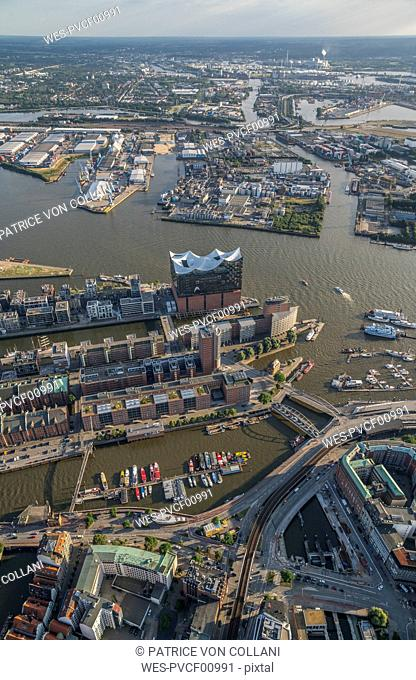 Germany, Hamburg, aerial view of the Elbphilharmonie