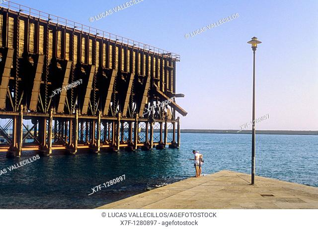 The 'Cable Ingles',a metal bridge for loading minerals on ships  beginning of the XIXc  Almería  Andalucia  Spain