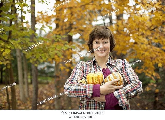 Organic farm. A woman holding an armful of large squash vegetables
