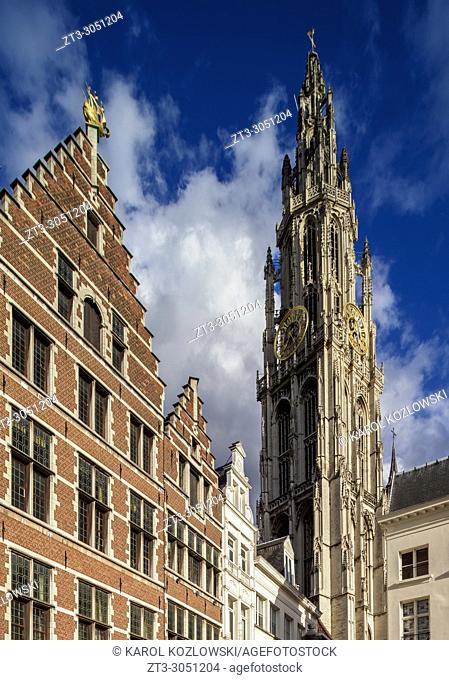 Houses on Grote Markt and Cathedral Tower, Antwerp, Belgium