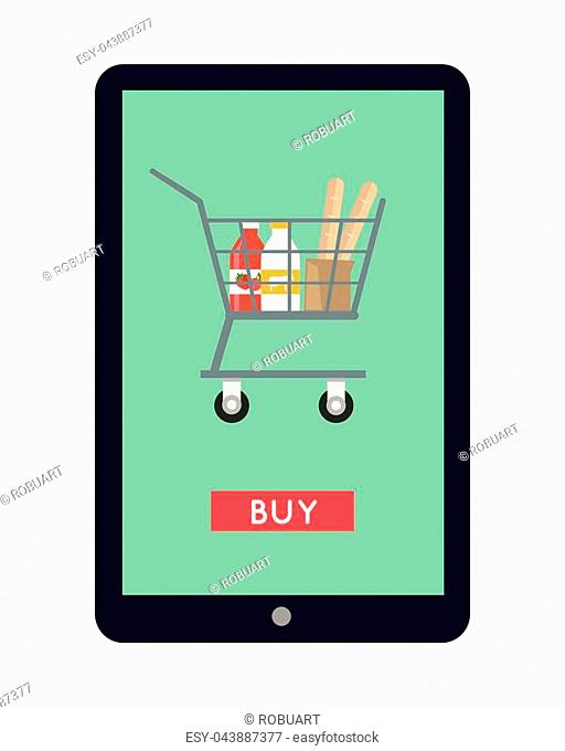 Online shopping in grocery store concept vector. Flat design. Illustration of food and drinks in shopping cart on tablet screen with buy button