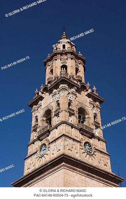 Mexico, Michoacan, Morelia, the Cathedral of Morelia, view from the Plaza de Armas