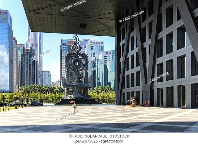 Shenzhen, China - August 19,2015: Stock market building in Shenzhen, one of the three stock markets in China. The others two being Hong Kong and Shanghai