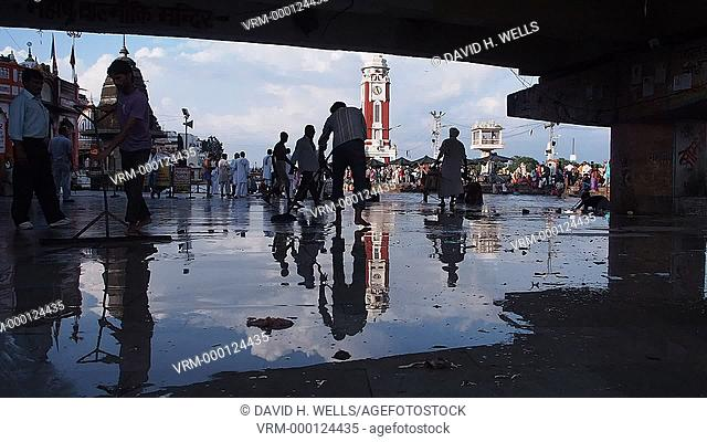 Wet floor and crowded ghat at Haridwar, Uttarakhand, India