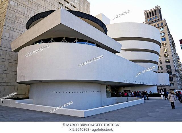 The exterior of the Solomon Guggenheim Museum in Manhattan, New York City, USA