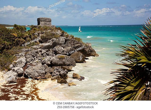 View to the castle at Prehispanic Mayan city of Tulum Archaeological Site, Tulum, Quintana Roo, Yucatan Province, Mexico, North America
