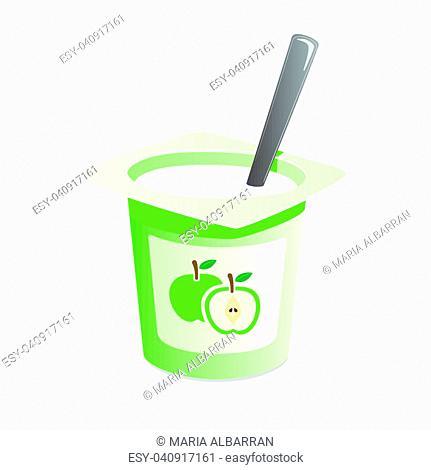 Apple yogurt with spoon inside on white background