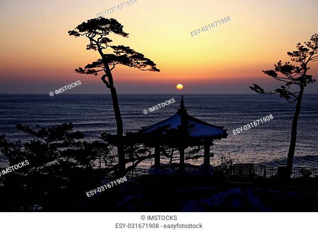 Naksansa temples in south korea,Sunrise
