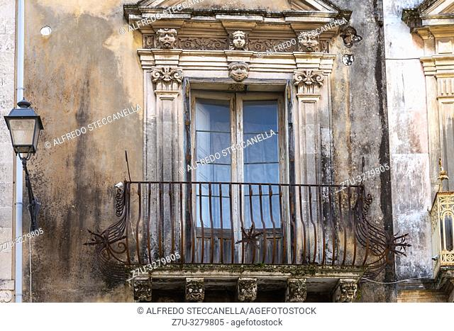The ancient window on stone wall, for background