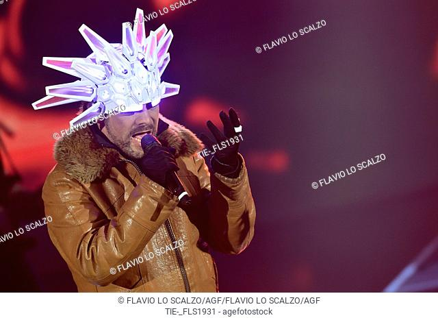 The singer Jason Kay leader of Jamiroquai during the tv show Che tempo che fa, Milan, ITALY-02-04-2017