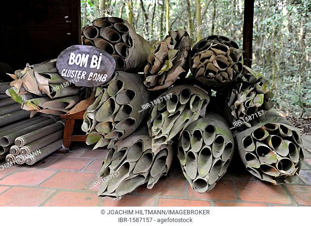 American cluster bombs from the Vietnam War in the open-air war museum in Cu Chi, South Vietnam, Vietnam, Southeast Asia, Asia