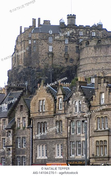 Edinburgh Castle as seen from Grassmarket, Edinburgh, Midlothian, Scotland