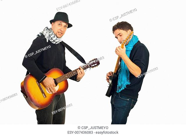 Two cool guys with guitars