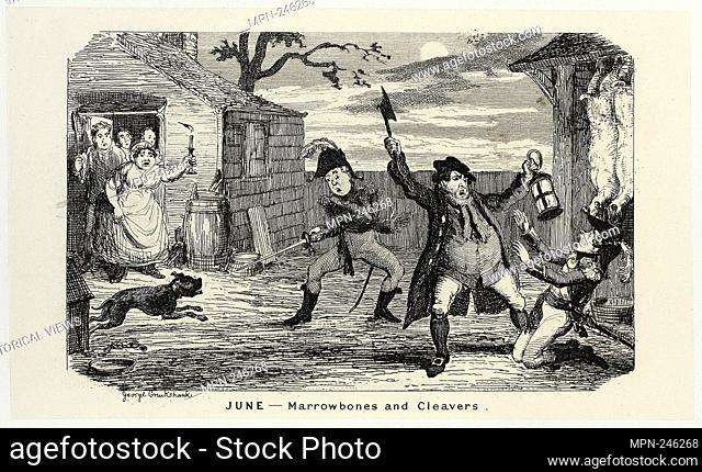 June - Marrowbones and Cleavers from George Cruikshank's Steel Etchings to The Comic Almanacks: 1835-1853 - 1839, printed c