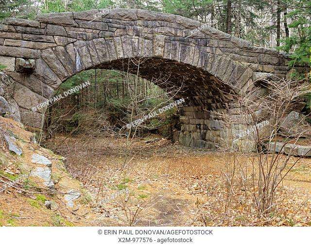One of the many stone bridges located in Acadia National Park, USA  This bridge is located on one of the carriage roads near Bubble pond
