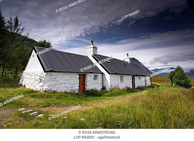 A view of Blackrock Cottages on the West Highland Way. They are situated on the very edge of Rannoch Moor and lie beneath the mighty Buachaille Etive Mor at the...