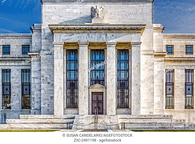 The US Federal Reserve Board Building - Close view of the United States Federal Reserve Building main entrance (Marriner S
