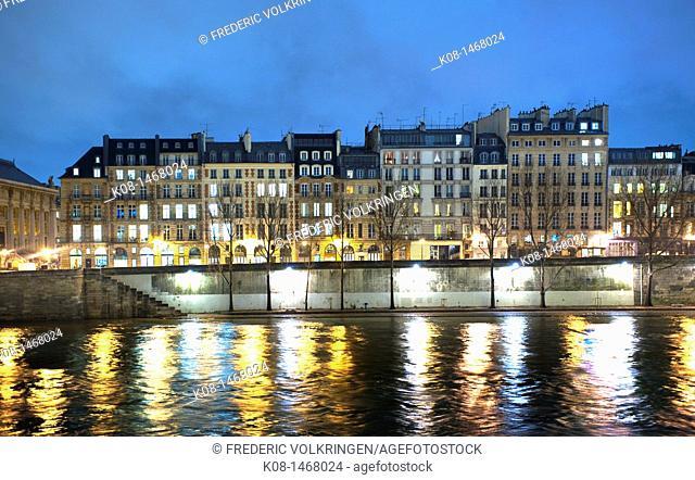 Seine, river, Ile de la Cité, night, bridge, docks, Pont Neuf bridge, winter, France, París