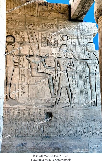 Ramesseum : the funeral temple of pharaoh Ramses II the Great(1303-1213 b.C. XIX dyn.). The King blessed by various deities