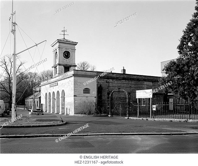 St George Barracks North, Weevil Lane, Gosport, Hampshire, 2000. The barracks were built in 1857-9. The guard house has an arched colonnade and an italianate...