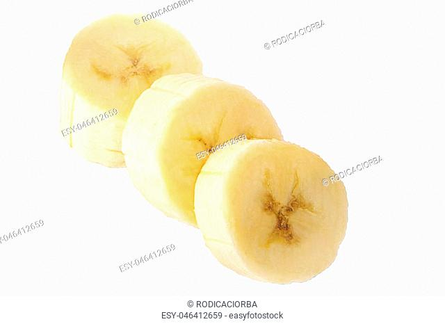 Isolated Banana. Ripe banana slice isolated on white background with clipping path (at ALL sizes). Isolation is on a transparent layer in the PNG format