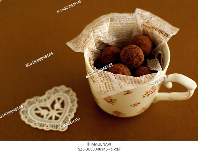 Chocolate truffles in a mug