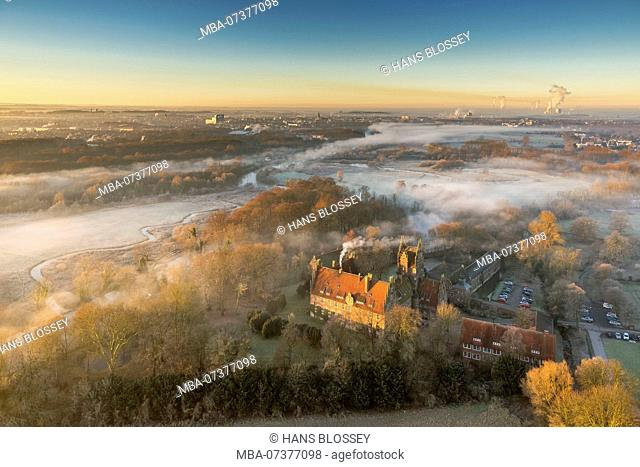 Morning mist over the Lippe. Lippe marsh, castle Heessen, country hostel, boarding school, sunrise over Hamm, aerial view of Hamm, Ruhr area