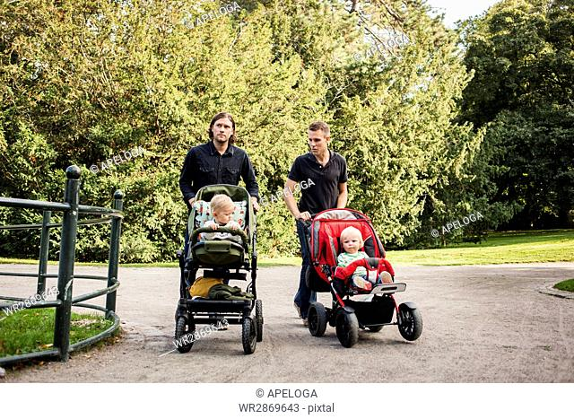 Men pushing babies in carriages at park