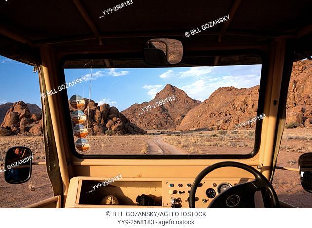 View from Land Cruiser near Sossusvlei National Park - Namib-Naukluft National Park, Namibia, Africa