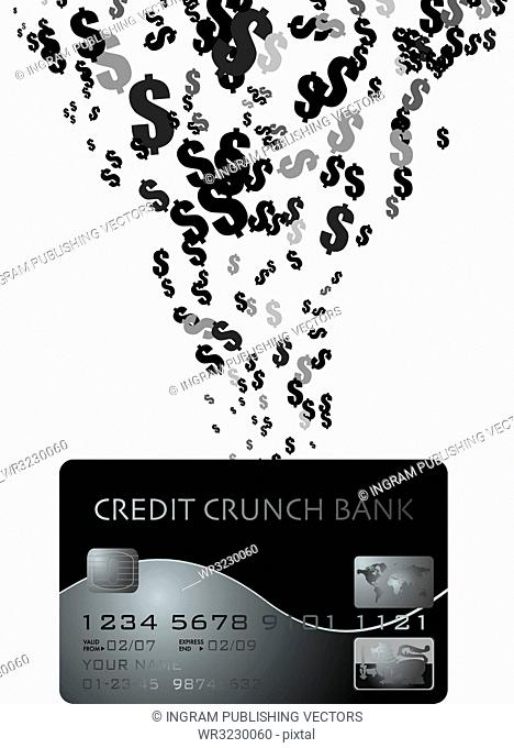 money pouring into a credit card showing monetary dangers