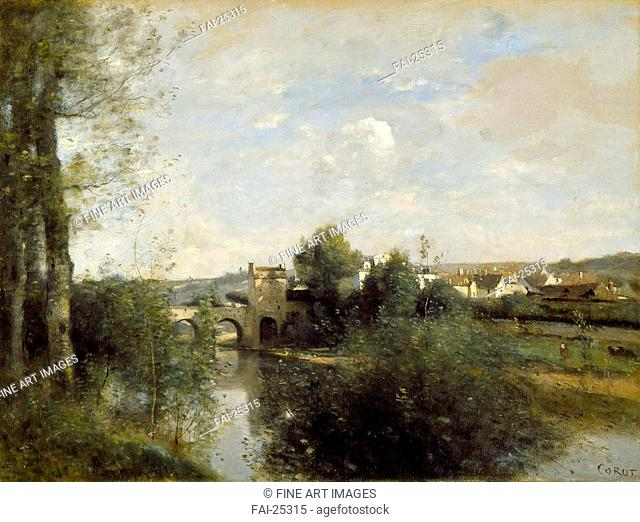 Seine and Old Bridge at Limay. Corot, Jean-Baptiste Camille (1796-1875). Oil on canvas. Barbizon. 1872. France. Los Angeles County Museum of Art