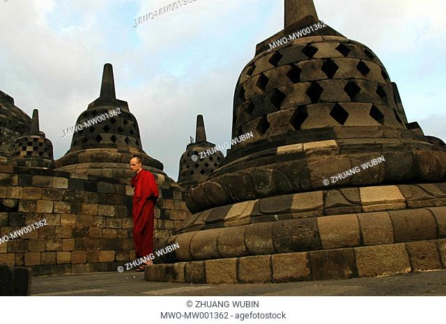 Sangpo, a Tibetan monk from Germany, visits the eighth century Buddhist monument of Borobudur in central Java with his teacher from Lhasa Exiled to Dharamsala...