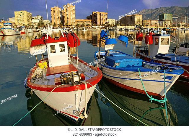 Fishing harbour and tourist resort of Fuengirola on the Costa del Sol. Malaga province, Andalusia, Spain