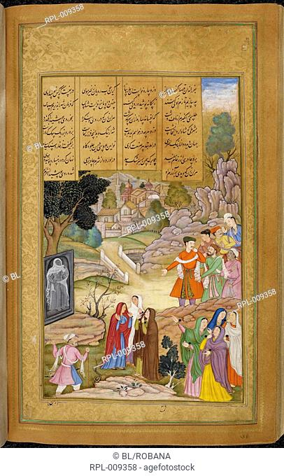 Iskandar trying to persuade the women of Qipchaq to veil their faces by setting up a carving of a veiled bride. A miniature painting from a sixteenth century...