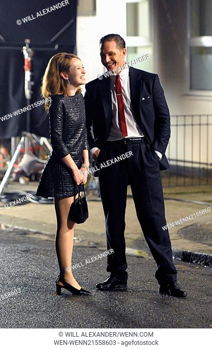 Tom Hardy and Emily Browning film scenes from their latest movie 'Legend' outside The Ivy House in Peckham. The shoot lasted until 3am
